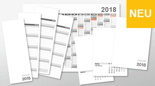 Kalendervorlagen für 2018