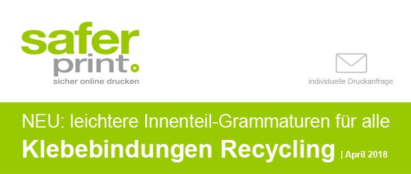Newsletter April 2018-2/ NEU: leichtere Innenteil-Grammaturen für alle Klebebindungen Recycling