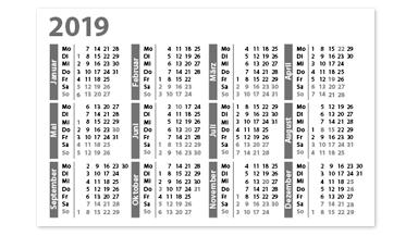 Layoutvorlage für Visitenkarten-Kalender