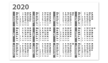 Layoutvorlage Visitenkarten-Kalender