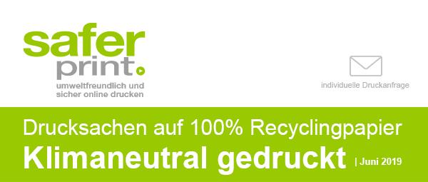 Newsletter Juni 2019 / Drucksachen auf 100% Recyclingpapier Klimaneutral gedruckt